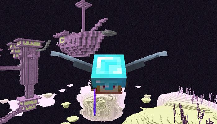 エリトラで飛ぶプレイヤー