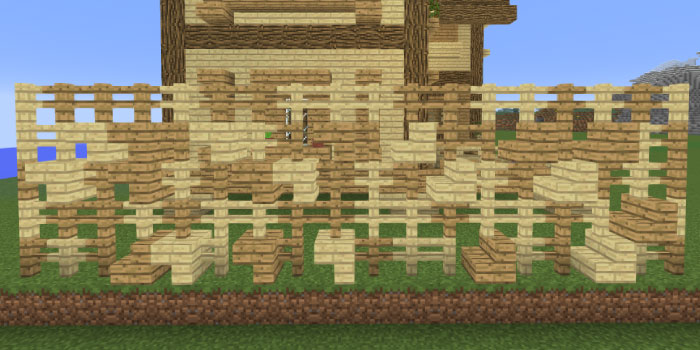 階段ブロックとフェンスが組み合わさった塀