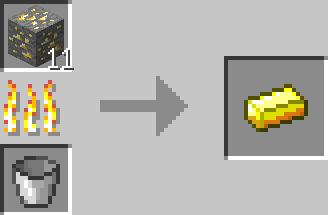 金鉱石をかまどで焼く
