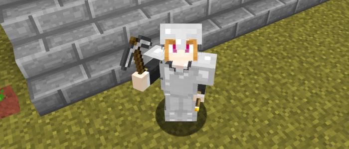 ダイヤモンド鉱石を探しに出かけるプレイヤー