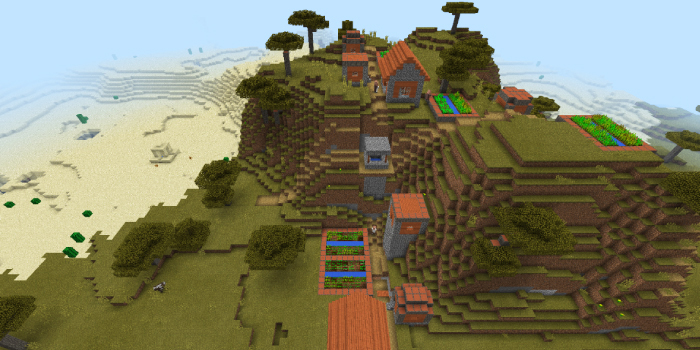 サバンナの山にできた村