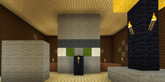 邪悪な村人の頭の像のある部屋