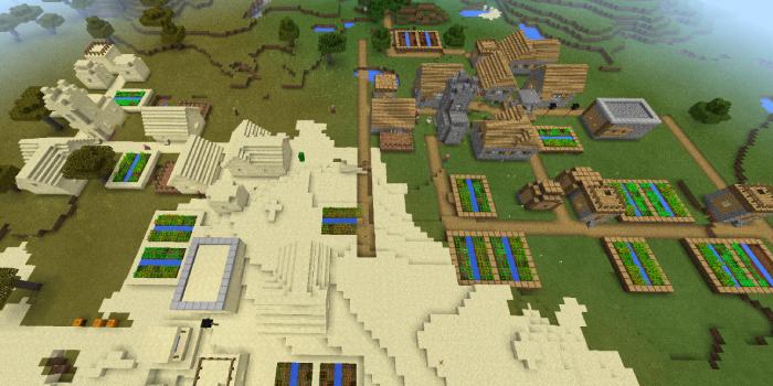 砂漠と草原の村が連なるシード値