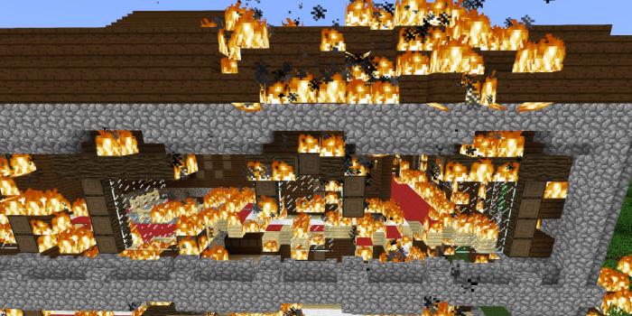 森の洋館の火事