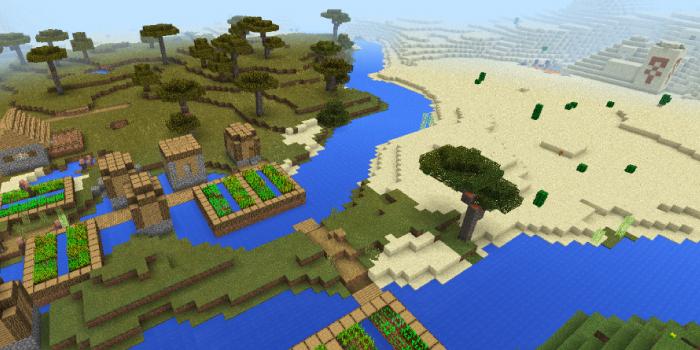 砂漠の寺院と村