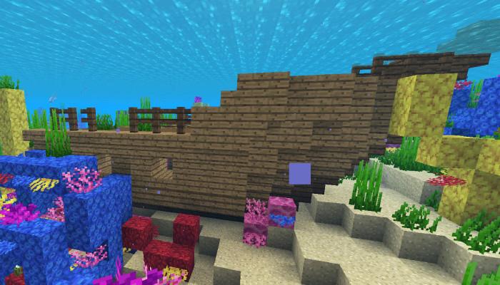 サンゴ礁にできた難破船