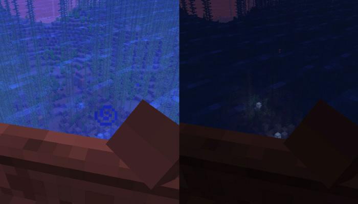 暗視のポーションの有無での見え方の差