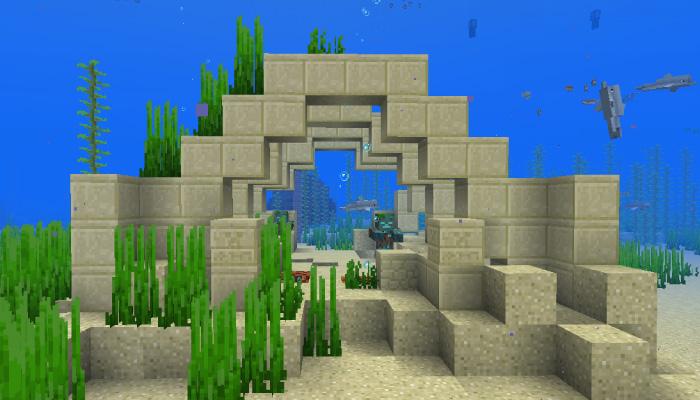 砂岩の水中遺跡