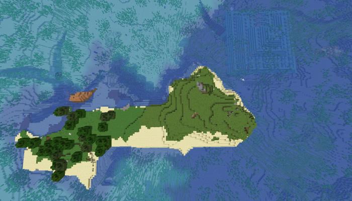 島の周囲に出来た構造物