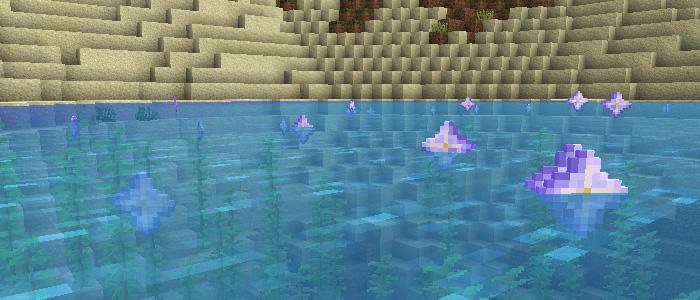 アイテムが水に浮く様子