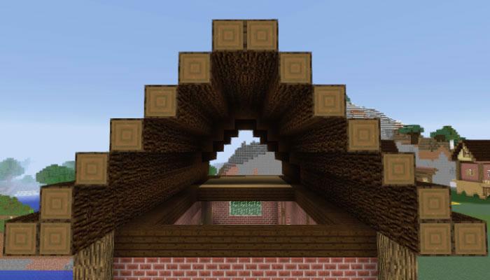 屋根の中央は2ブロックで