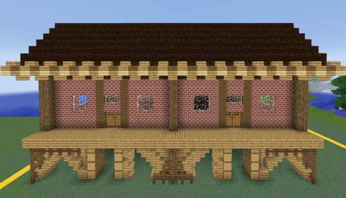 屋根をハーフブロックで飾る