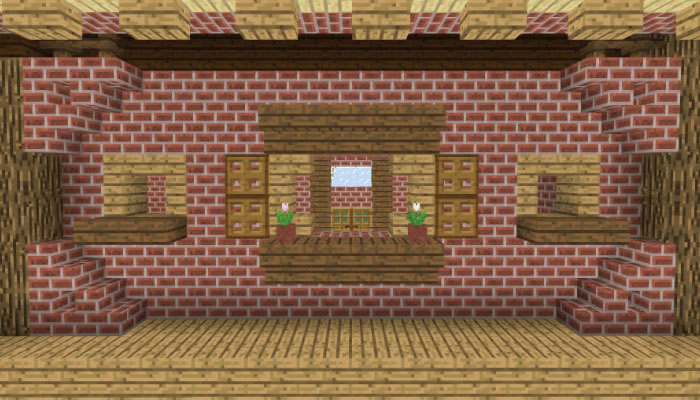 後面の右側の壁を作る