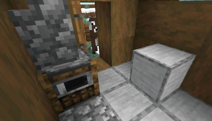 雪原の村の肉屋の家の内装