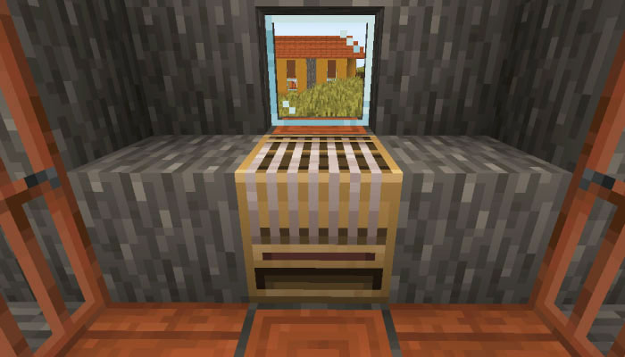 新しいサバンナの村の機織り機のある家の内装