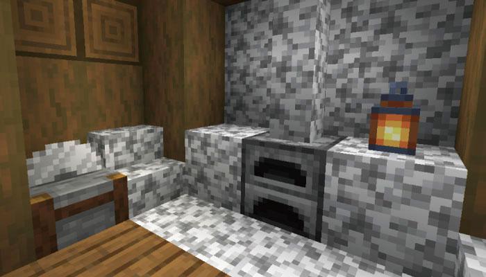 雪原の村の石切台のある家の内装