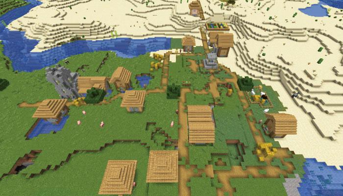 バイオームを挟んだ新しい村