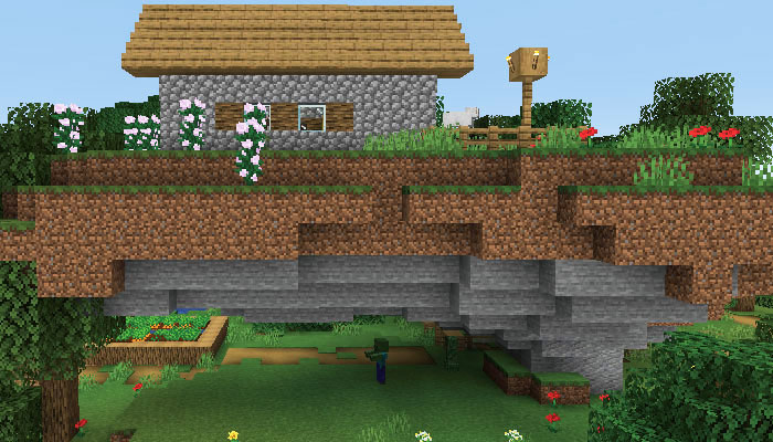 新しい村が浮いた様子