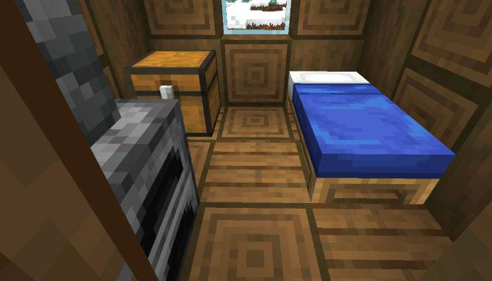 新しい雪原の村の小さな家の内装