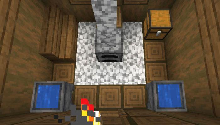 雪原の村の革師の家の内装