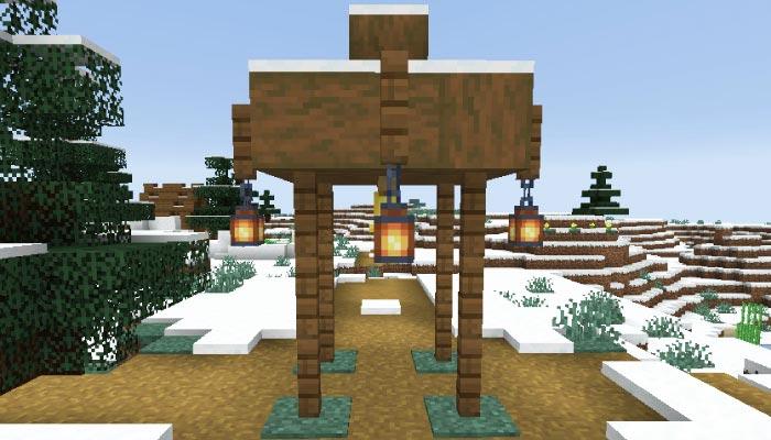 雪原の村の小屋