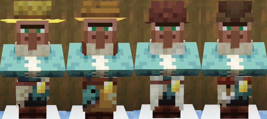 雪原の村人農民と釣り人と羊飼いと矢師