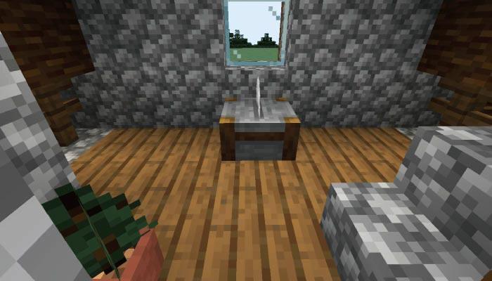 新しいタイガの村の石工の家の内装