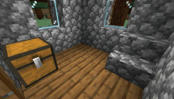 新しいタイガの村の小さい家の内装