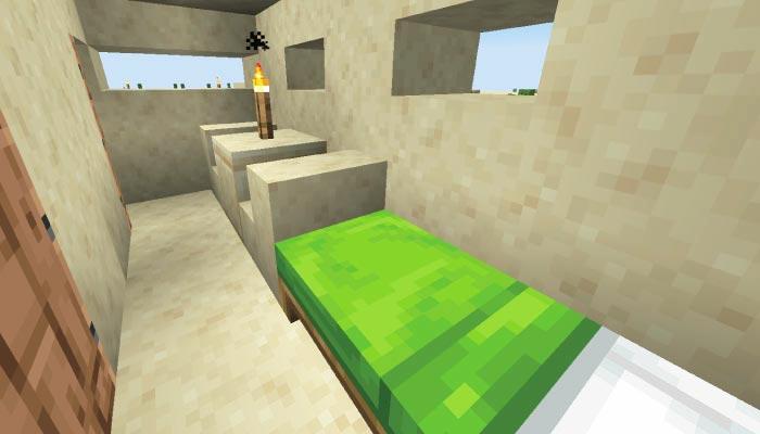 砂漠の村の小さな家の内装