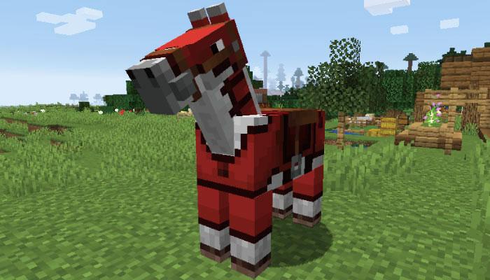 赤の革の馬鎧