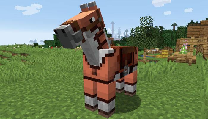 オレンジ色の革の馬鎧