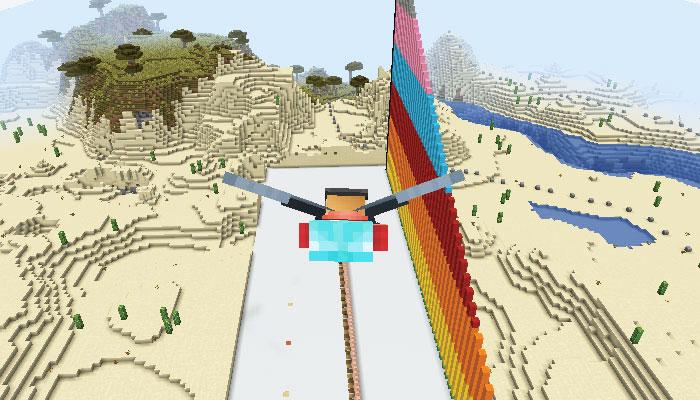エリトラで滑空するプレイヤー