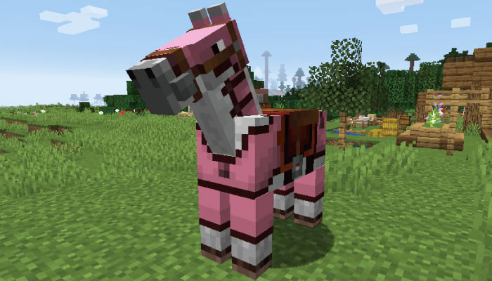 ピンクの革の馬鎧