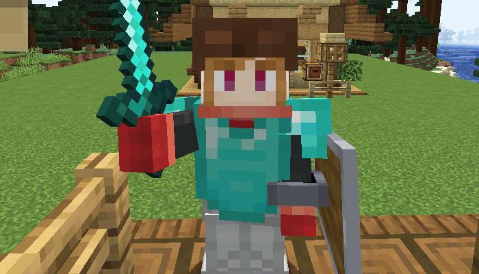 盾と武器を持ったプレイヤー