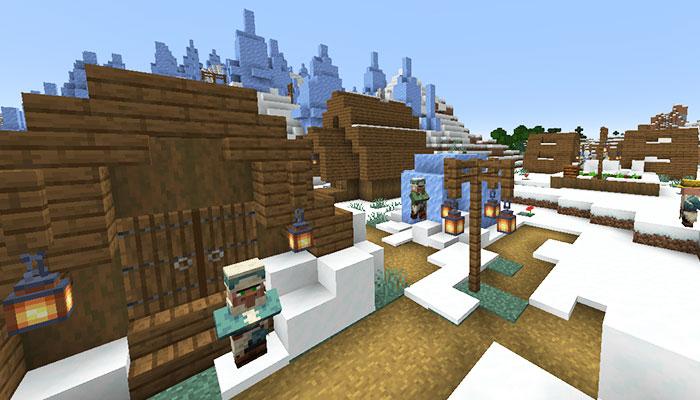 樹氷バイオームと雪原の村