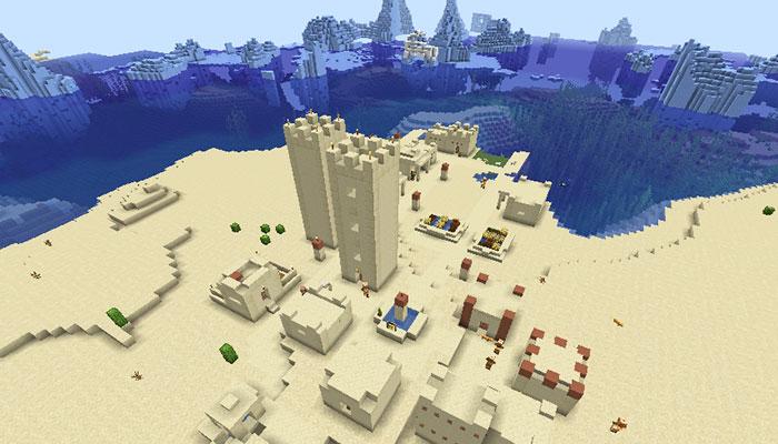砂漠の村と氷山バイオーム