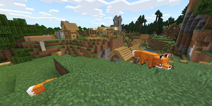 平原の村とキツネ