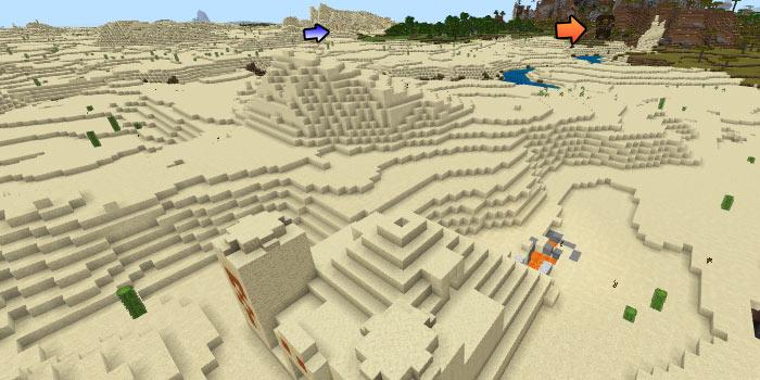 砂漠の寺院と村と前哨基地