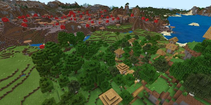 キノコ島と平原の村