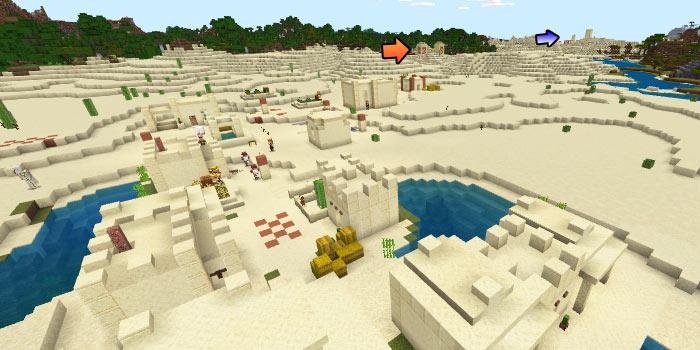 砂漠の村と砂漠の寺院