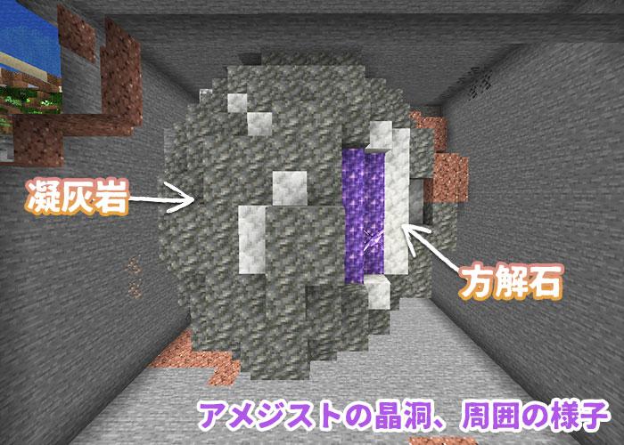 アメジストの晶洞の周囲の姿