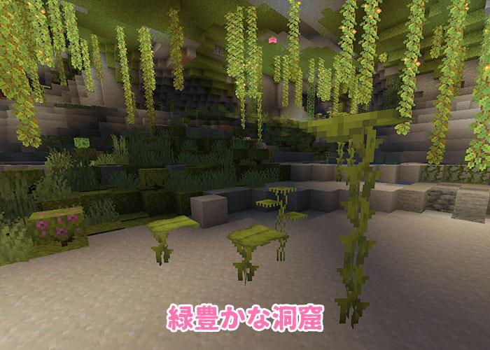 緑豊かな洞窟に生えるドリップリーフ