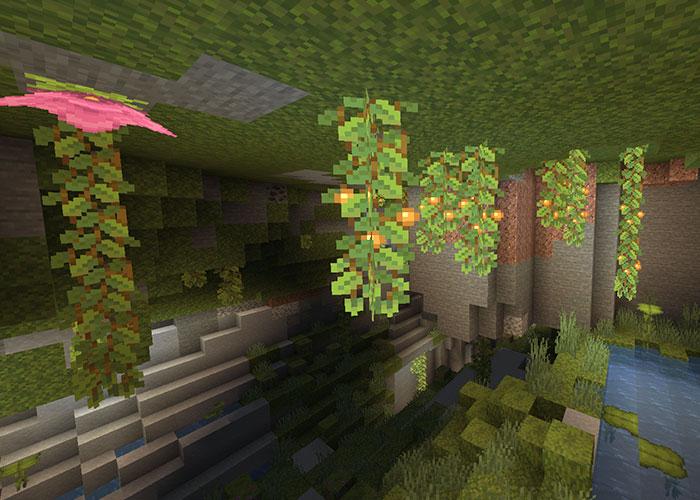 グロウベリーのある緑豊かな洞窟