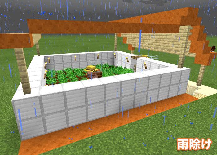 雨除けの付いた村人自動農場
